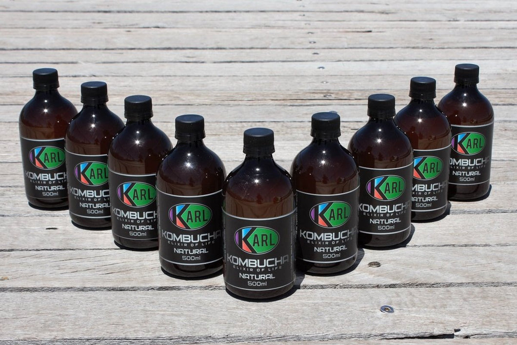 NEW Natural Delicious Kombucha, 1 carton, 18 servings in 9 x 500ml bottles, FREE SHIPPING