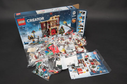 Contents inside box of LEGO Winter Village Fire Station 10263
