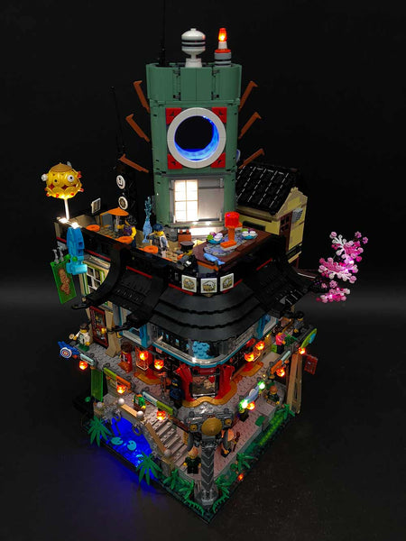 LEGO Ninjago City Lit Up With Light My Bricks