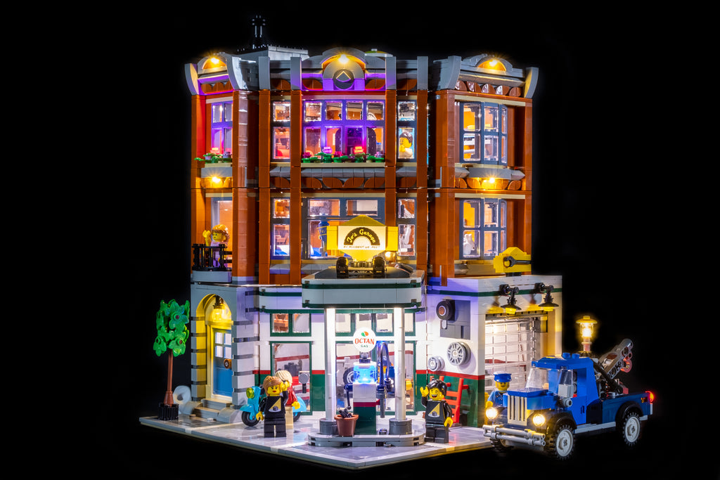 LEGO Corner Garage with Light My Bricks Lights Added