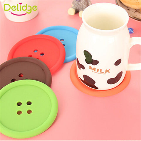 Cute Button Coasters 5pcs set