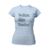 Blue meditate align manifest inspirational women's t-shirt by living redesigned