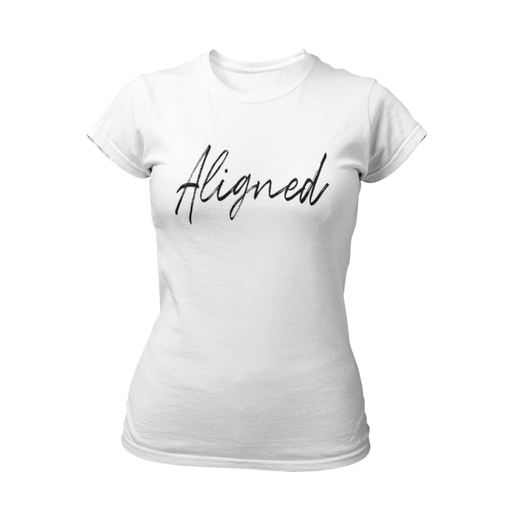 White Aligned Law of Attraction T-Shirt by Living Redesigned