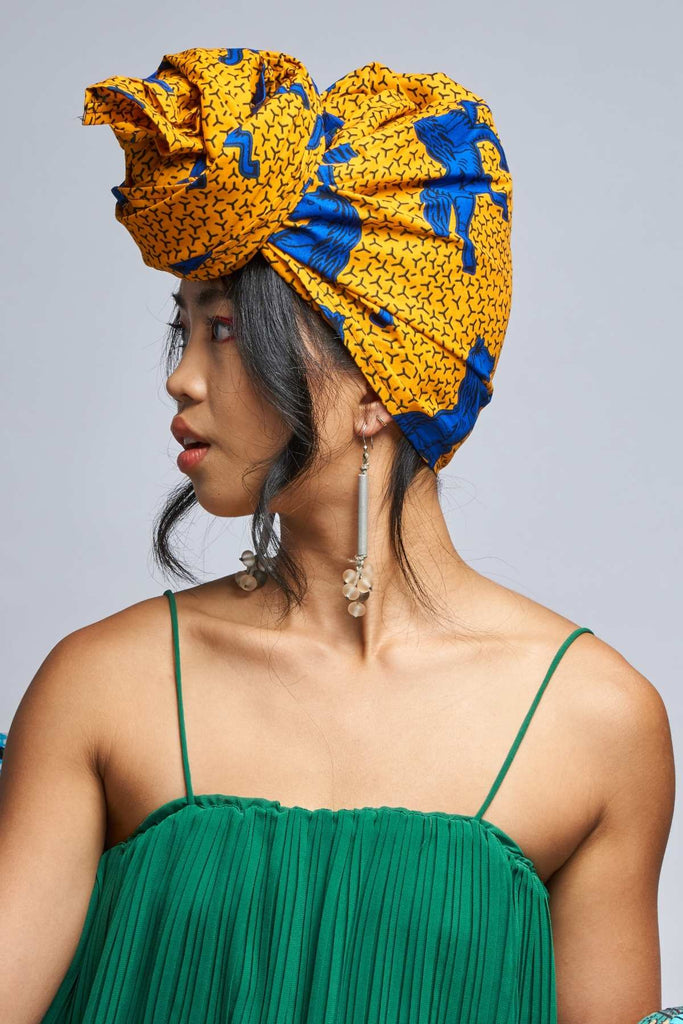 Jokia Yellow Jumping Horses Headwrap