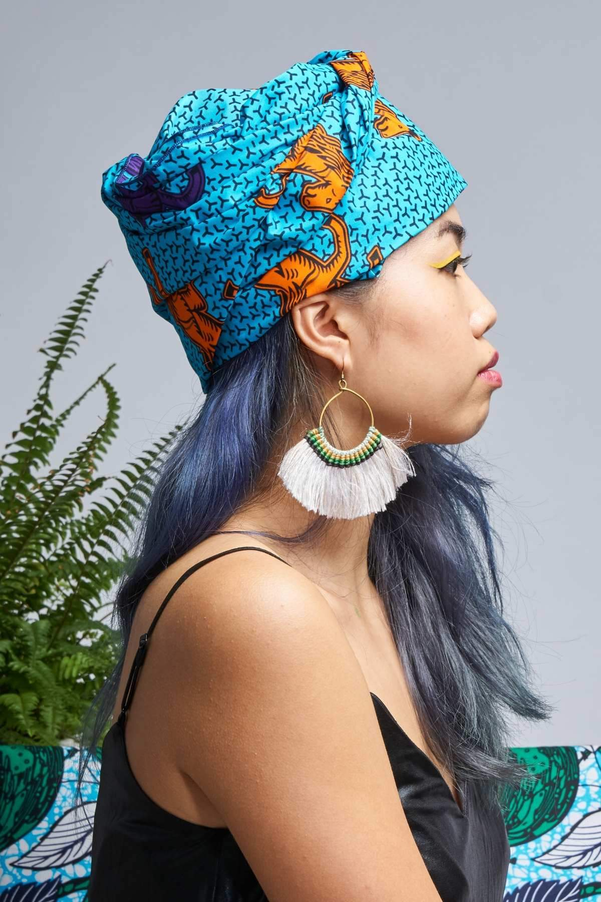 Apiyo Blue Jumping Horses Headwrap