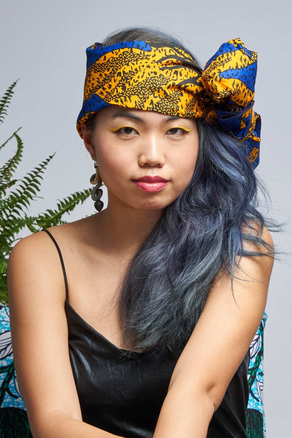 Yellow/ Blue Sun Headwrap