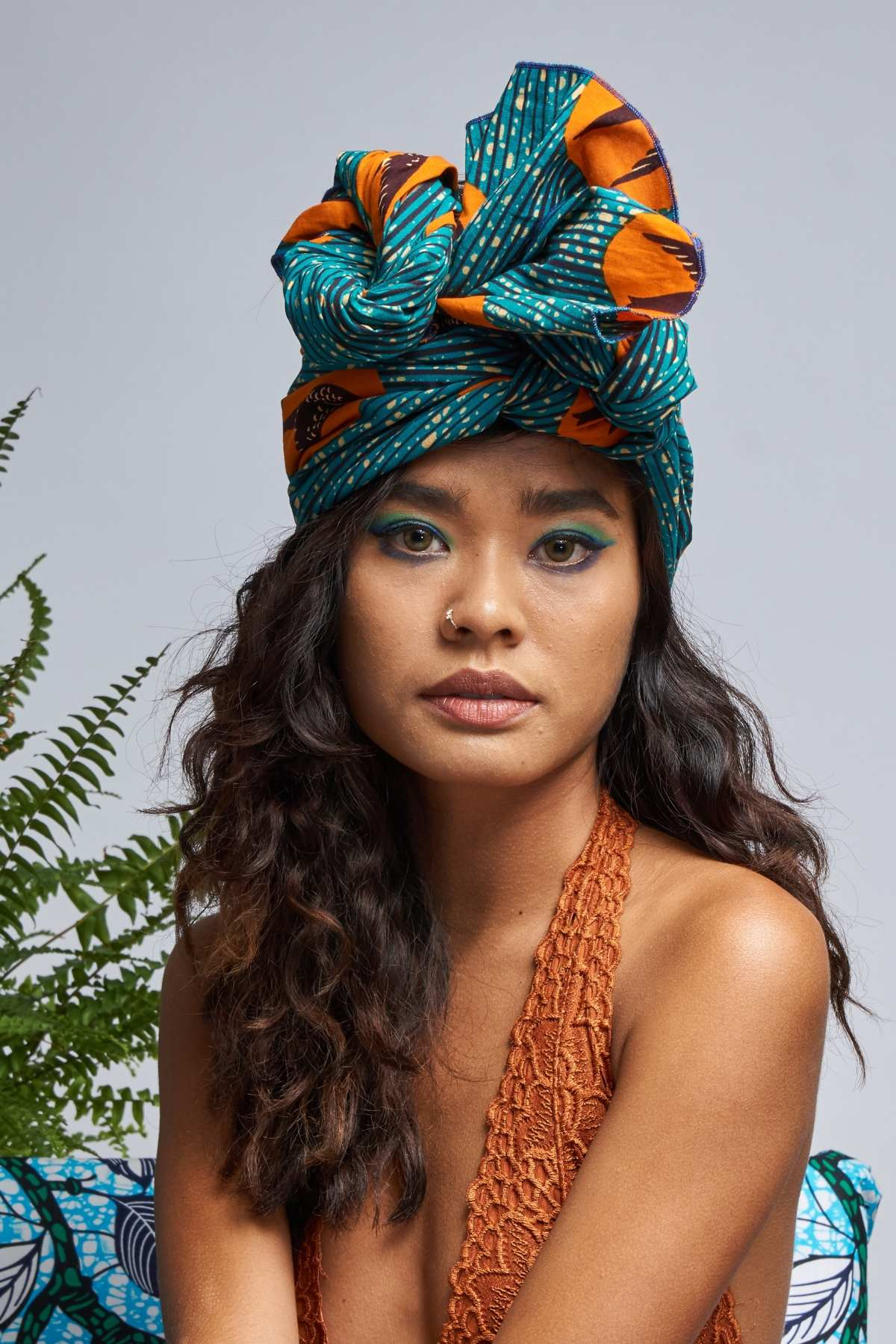 Teal/Orange Speed birds Headwrap