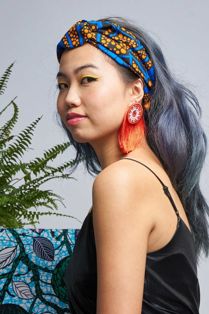 Anuli Blue/Orange Turban Headband
