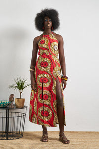 Kesandu Orange Dress Ankara African Wax Print Oliveankara