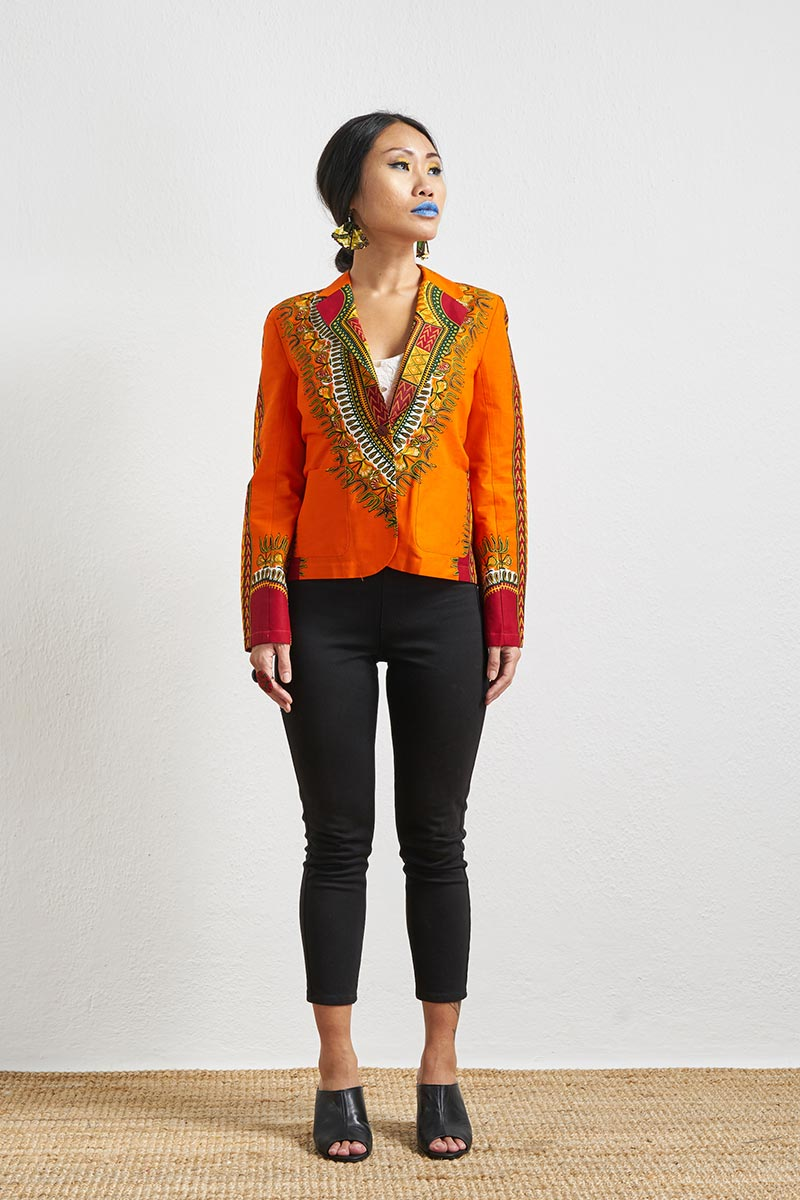 Nadira Orange Dashiki Blazer