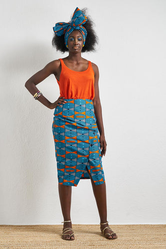 halina pencil wrap skirt ankara wax print oliveankara