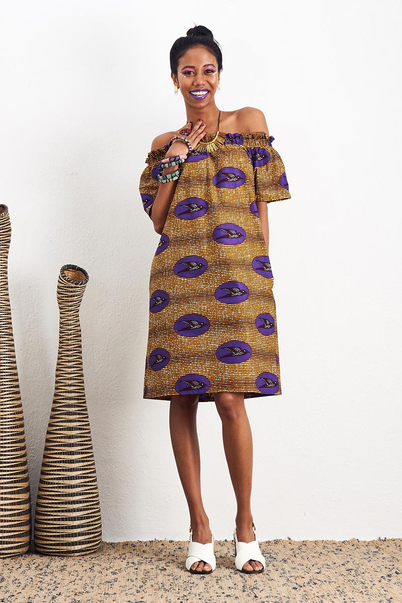 Ayoluwa Off-Shoulder Brown Dress