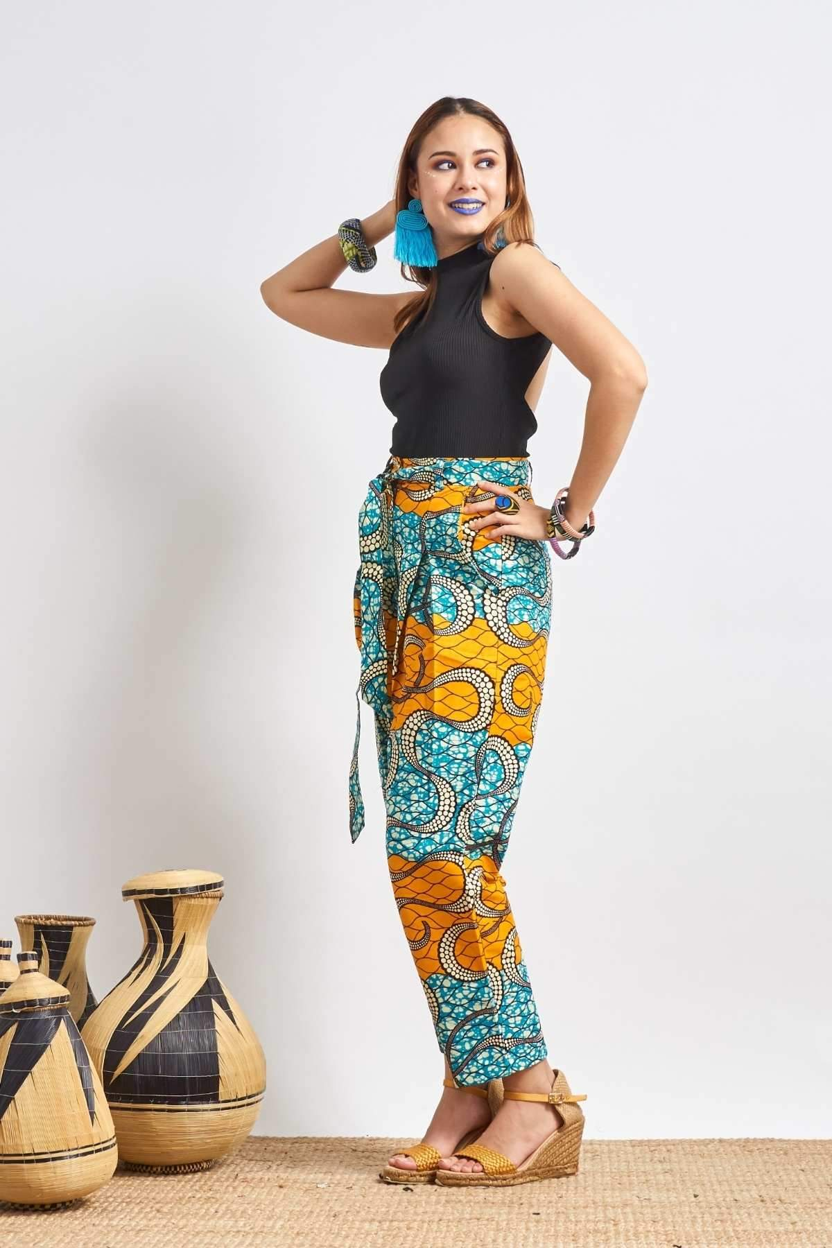 Adaora Pants - Orange/Aqua
