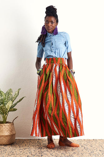 Ajaka Orange Maxi Skirt Ankara Wax Print OliveAnkara