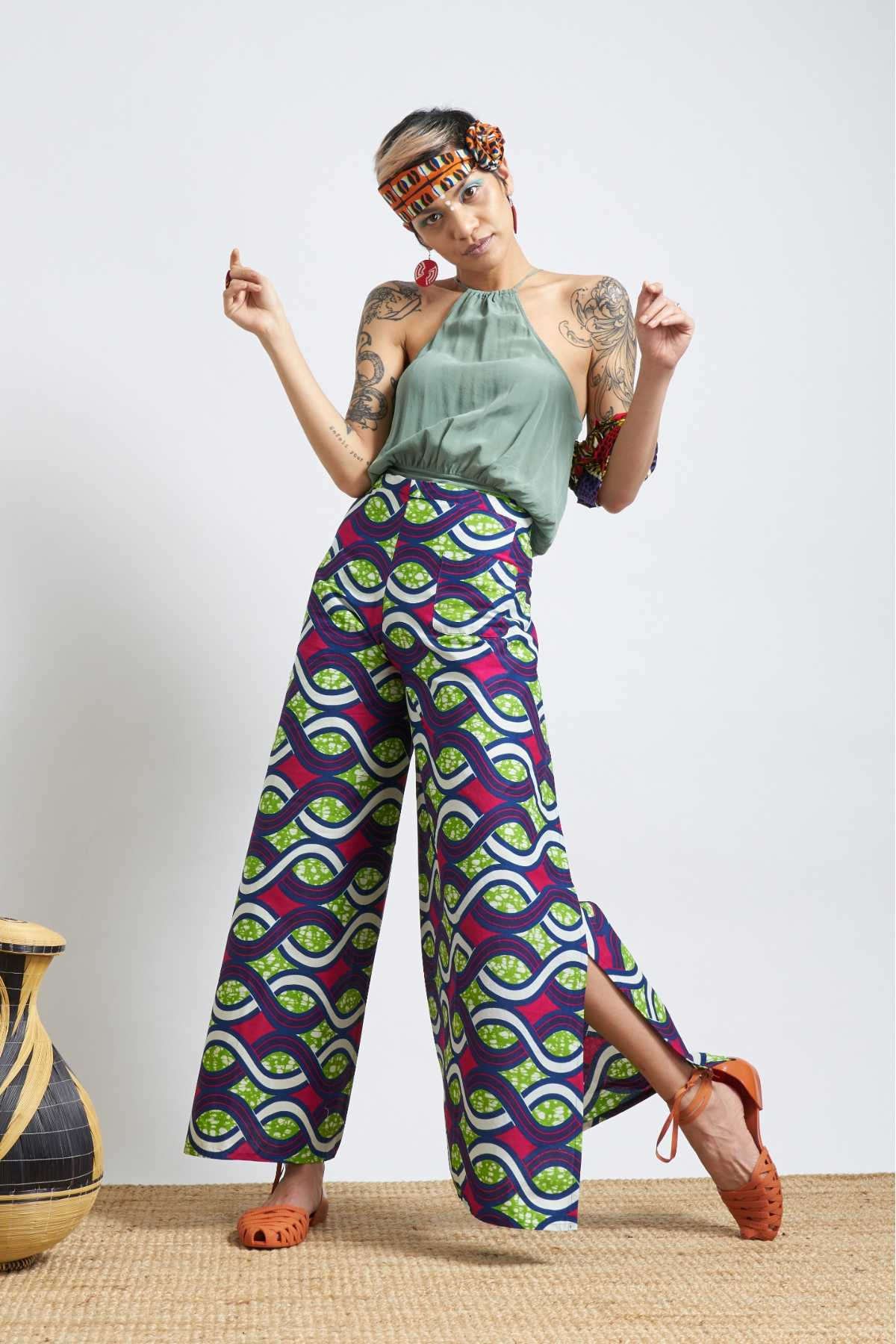 Apiyo Waves Wrap Pants - Green/Pink/Blue