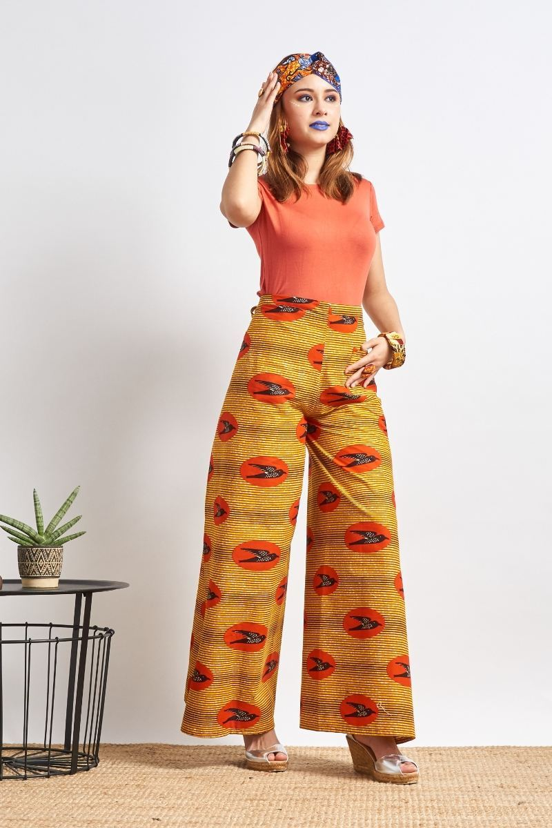 Apiyo Orange Speed bird Wrap Pants