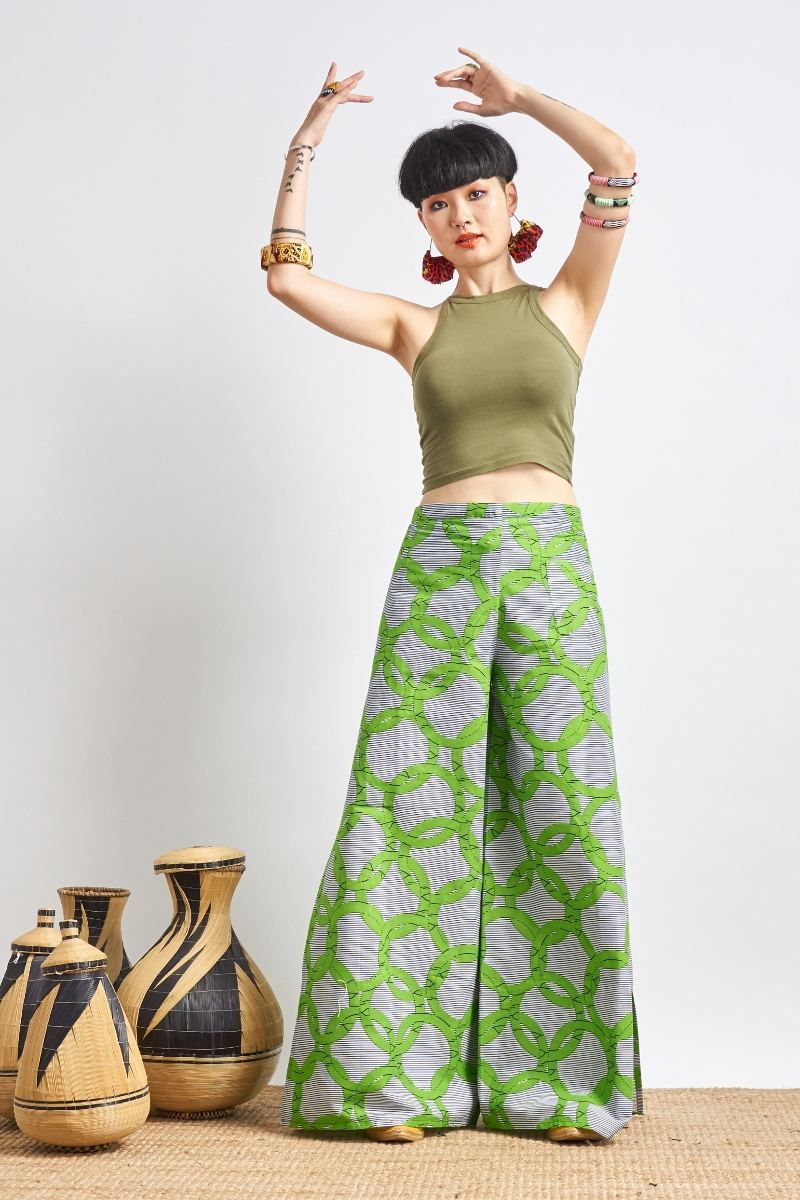 Apiyo Green Circle Wrap Pants