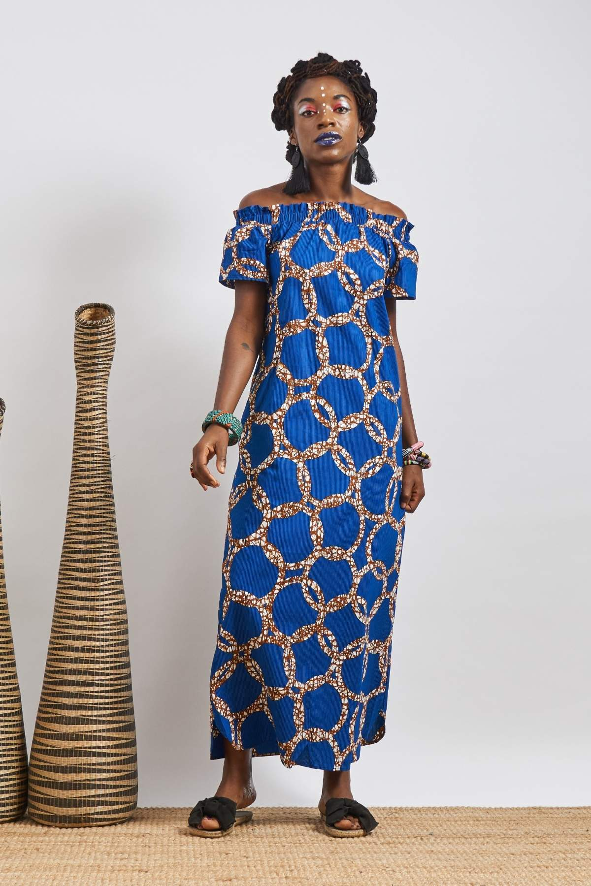 Ayanna Blue Off Shoulder Maxi Dress