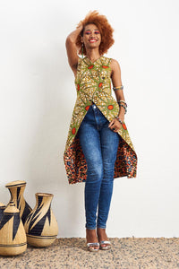 Ayanti Orange reversible Vest Ankara Wax Print OliveAnkara