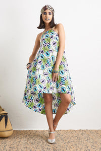 Ayodele White Dress Ankara Wax Print OliveAnkara