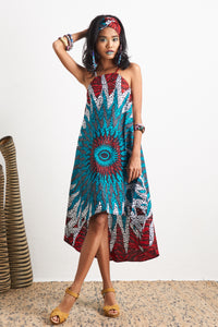 Ayodele Dress Ankara Wax Print OliveAnkara