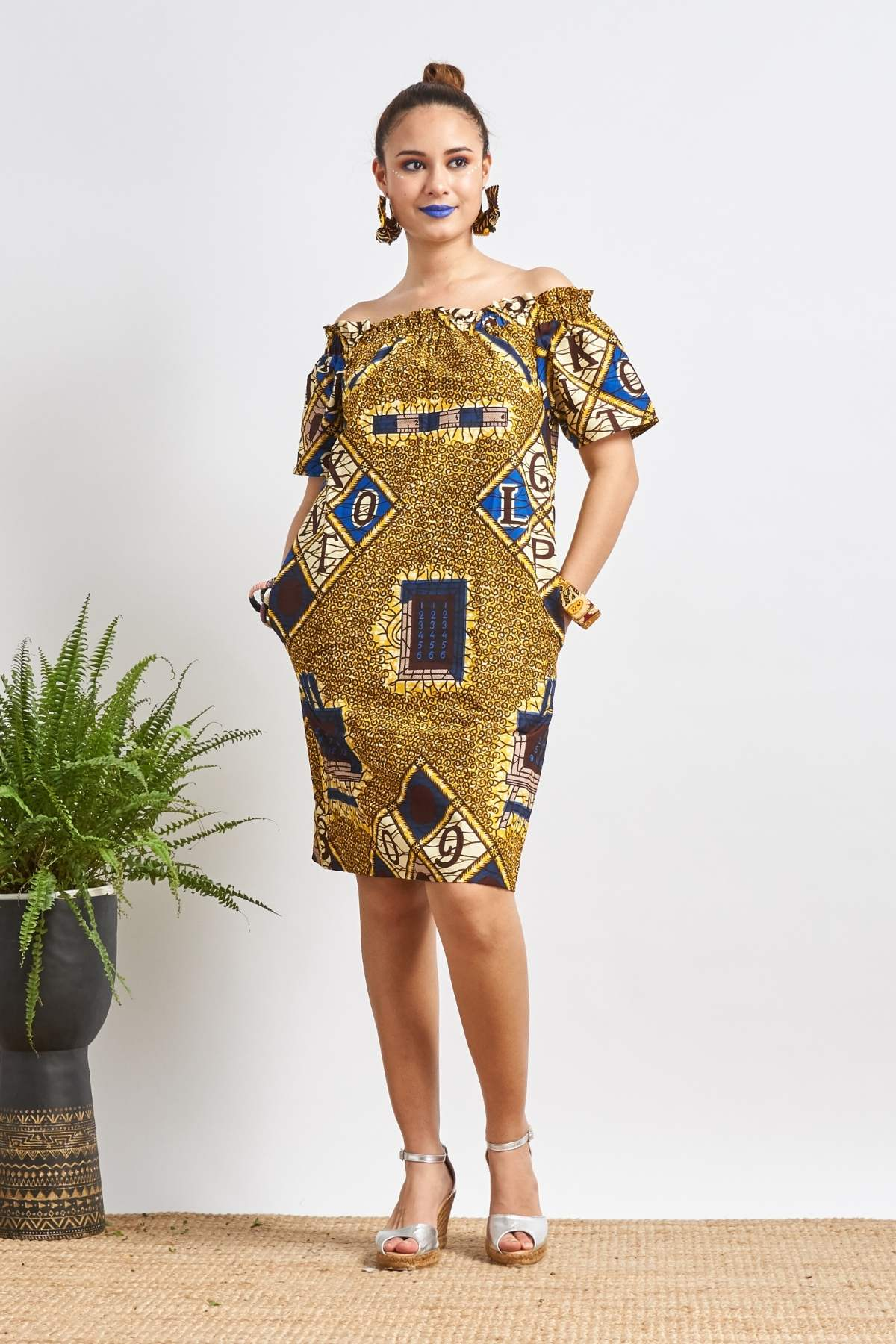 Ayoluwa ABC Off-Shoulder Dress
