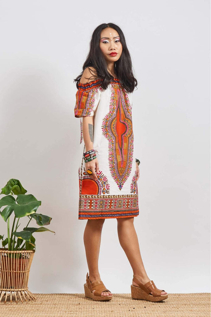 Ayoluwa White Dashiki Off-Shoulder Dress