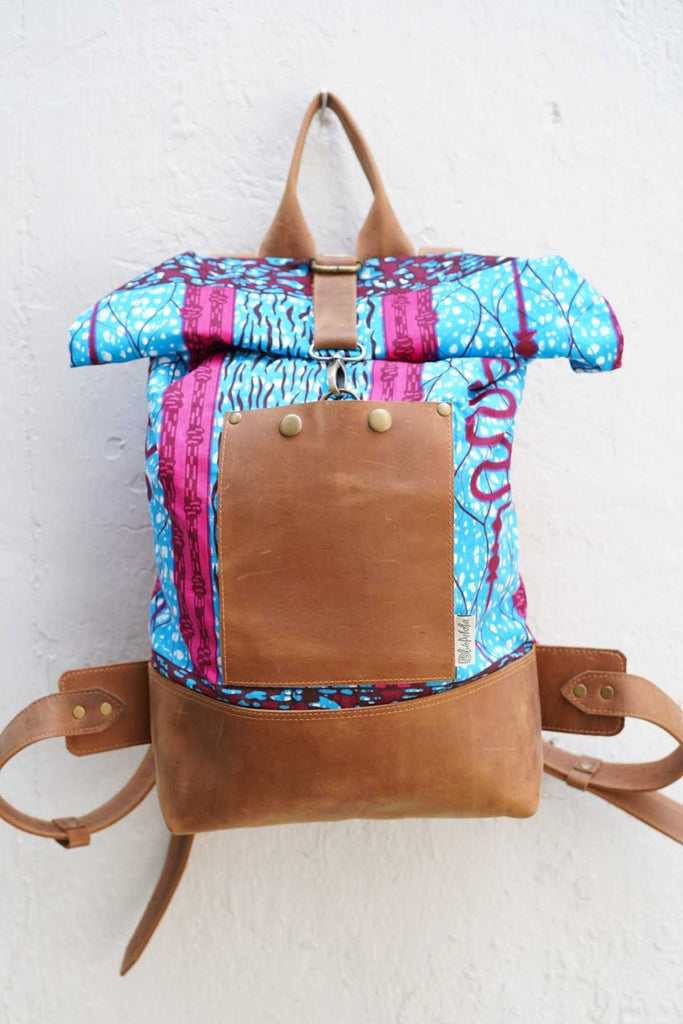Bepu Maji Azure/Pink Rolled Backpack