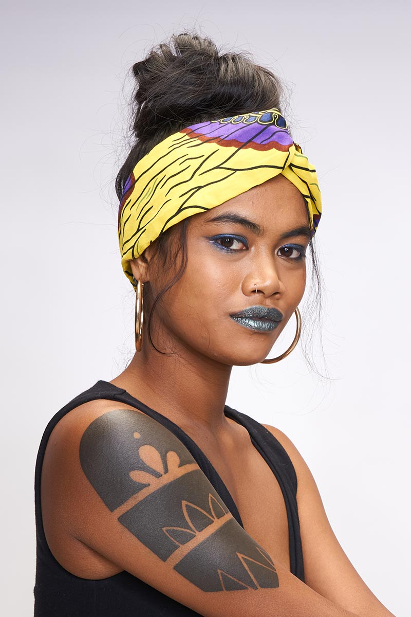 Beza yellow/purple Turban Headband