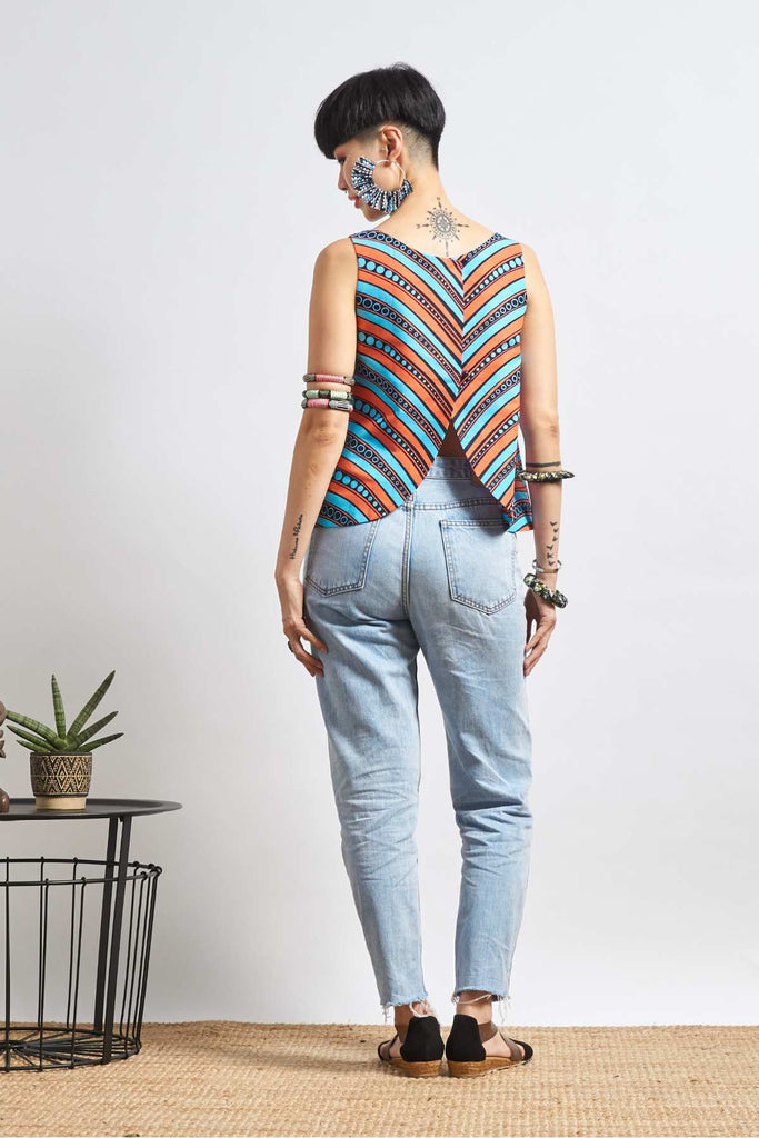 Ibena Pink/Cyan Crossed Back Top