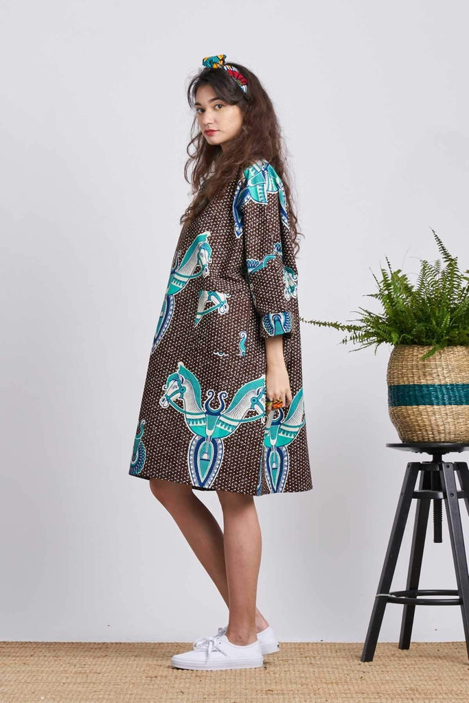 Bohlale Shift Dress - Brown/Turquoise horses