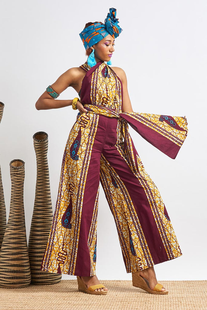 Chinwe Purple Royal Scelptre Wide Legs Infinity Dress