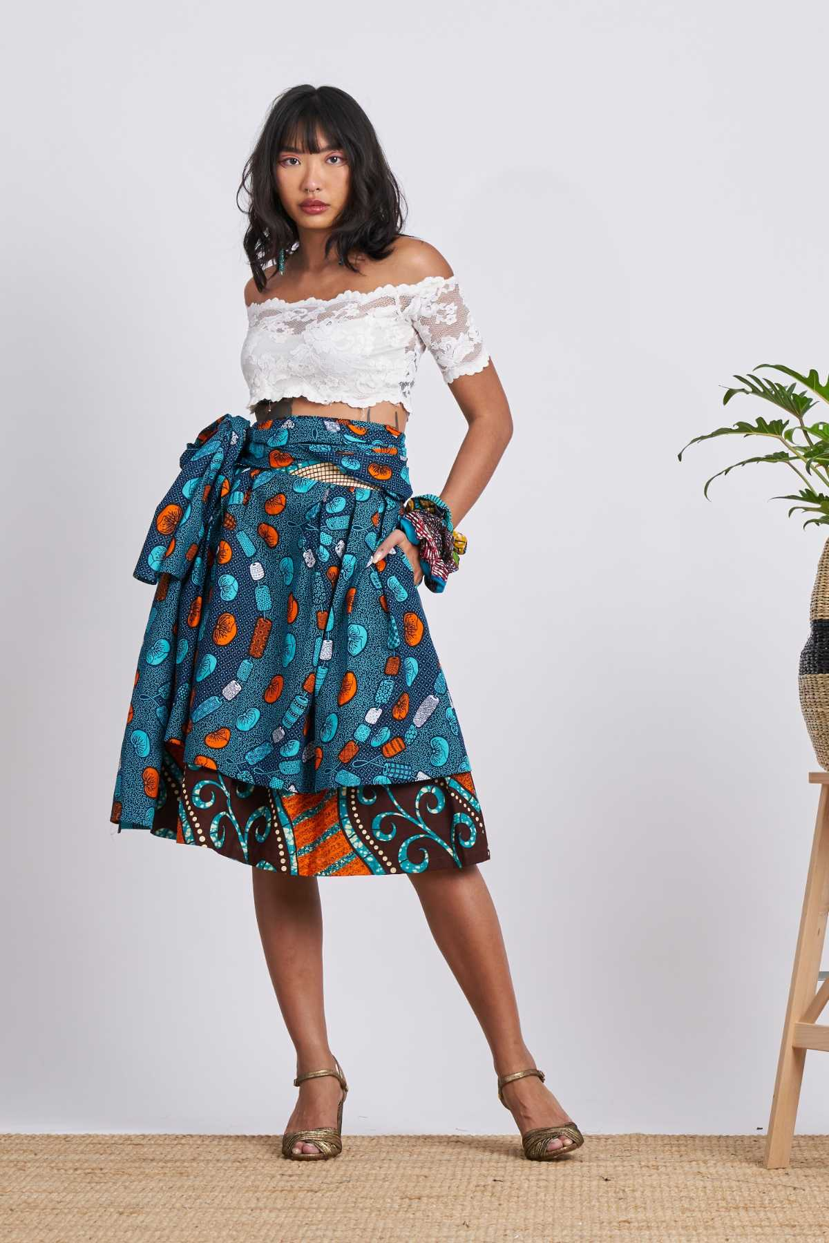 Chinwe Midi Skirt Infinity Dress - Teal/Blue
