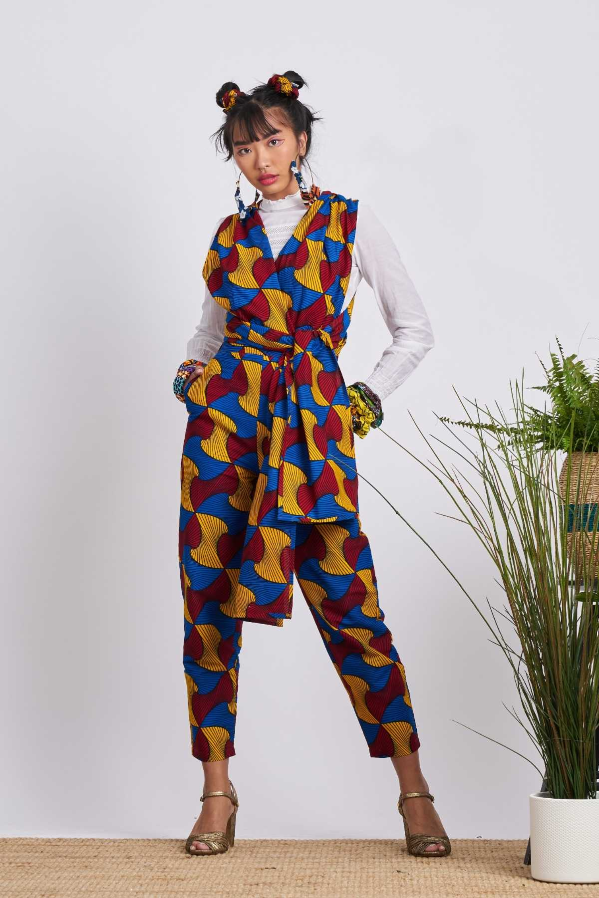 Chinwe Santana Cigarette Infinity Pants - Red/Blue/Yellow