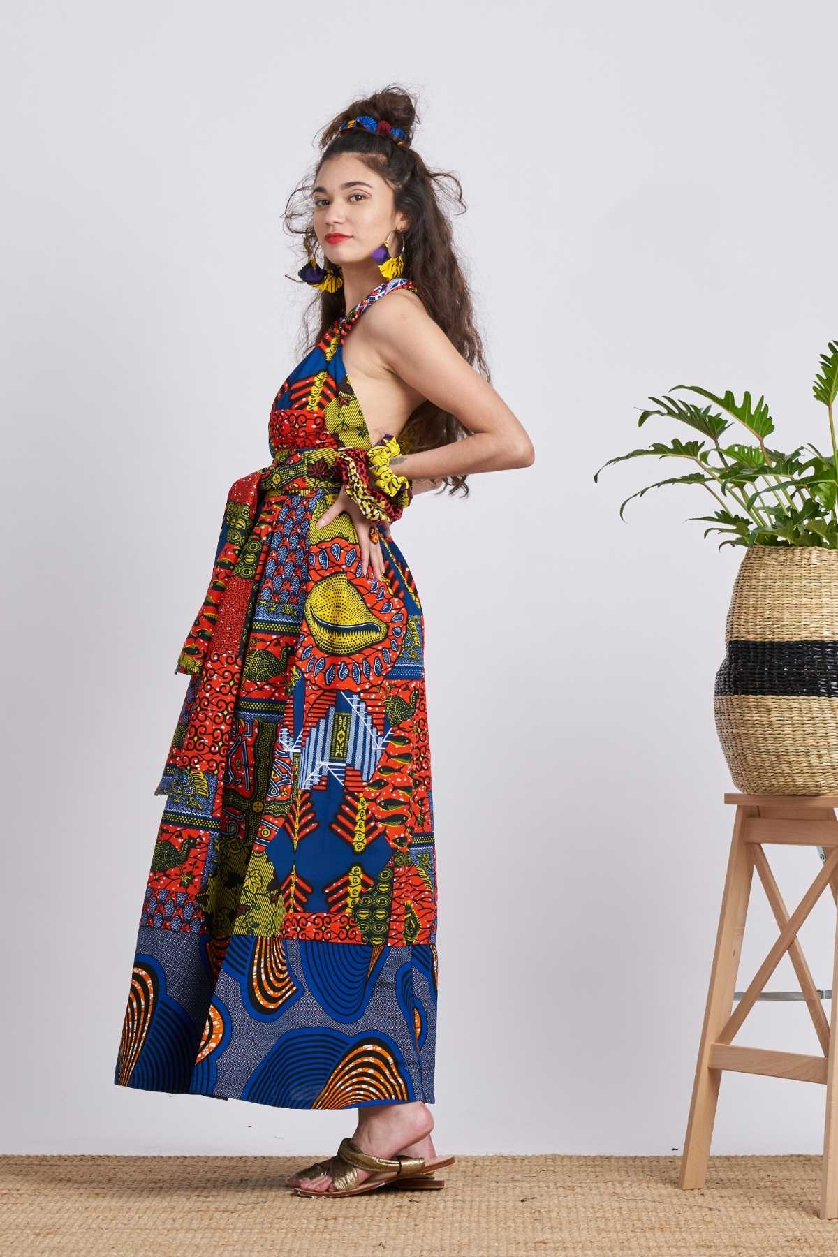 Chinwe Maxi Skirt Infinity Dress - Red & Blue