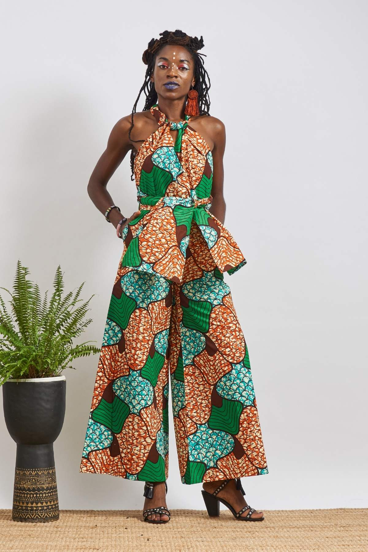 Chinwe Tri-colours Wide Legs Infinity Dress