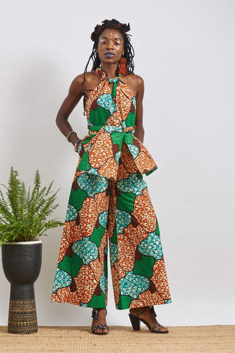 Chinwe Blue Wide legs Infinity Dress Ankara Wax Print OliveAnkara
