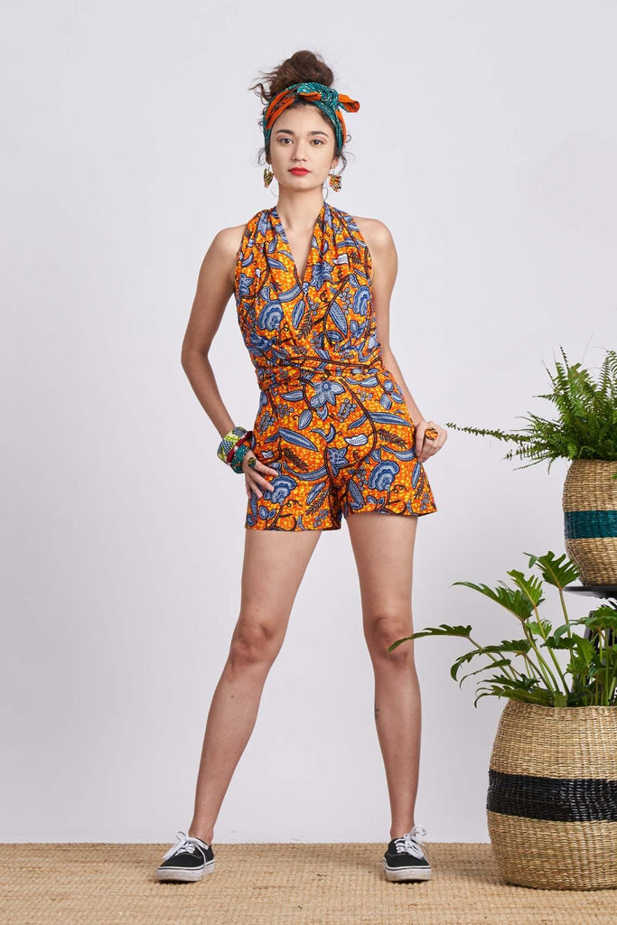 Chinwe Orange Leaf Trail Infinity Romper