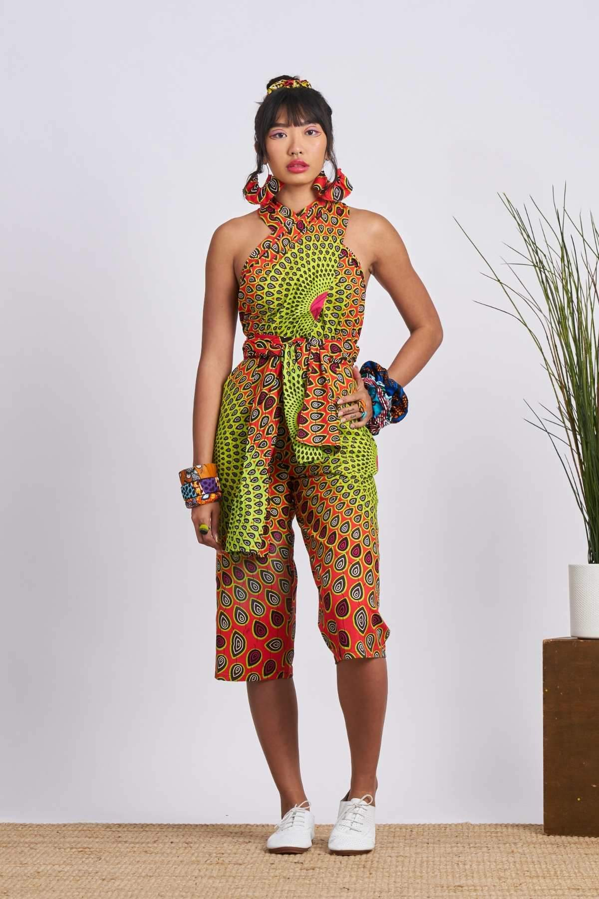 Chinwe Culottes Infinity Jumpsuit - Red/Green