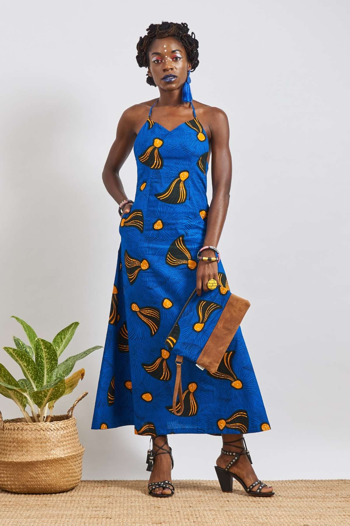 Chioma Blue Open Back Dress