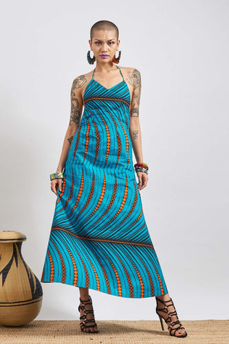 Chioma Blue/Orange Bare back Dress Ankara Wax Print OliveAnkara