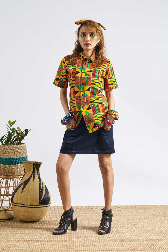 Chubby Unisex Shirt - Yellow/Kente