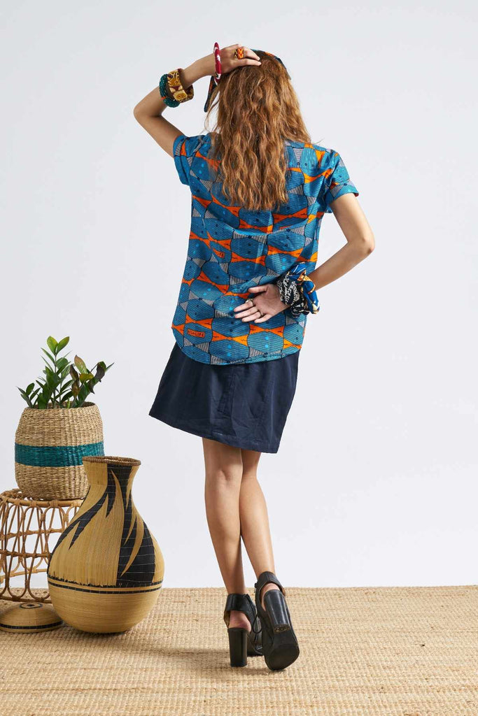 Chubby Unisex Shirt - Azure/Orange Highlife