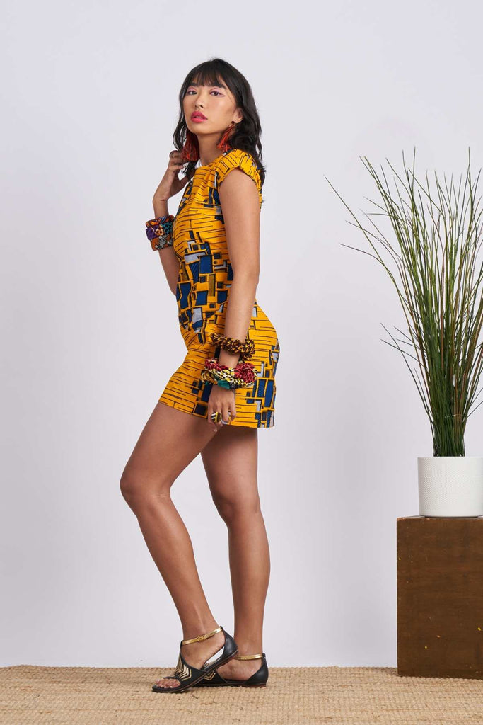 Dela Triangle Backless Mini Dress - Yellow