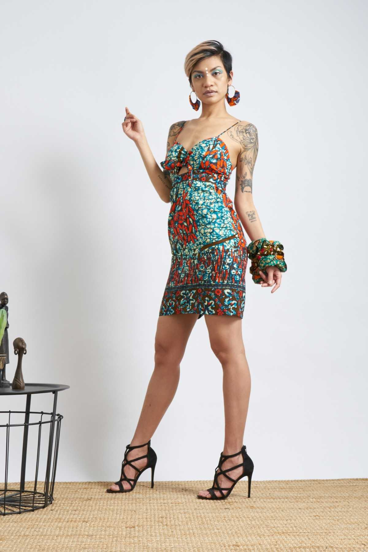 Enola Tie Front Dress - Teal & Orange