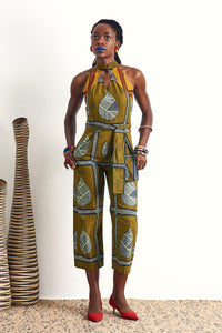 Freeda Ankara Cheongsam African dress Singapore OliveAnkara