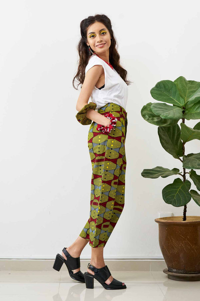 Gozie cropped straight-leg pants - Highlife Print