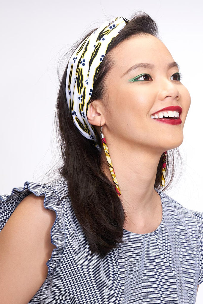 Onyeka White Twist Headband