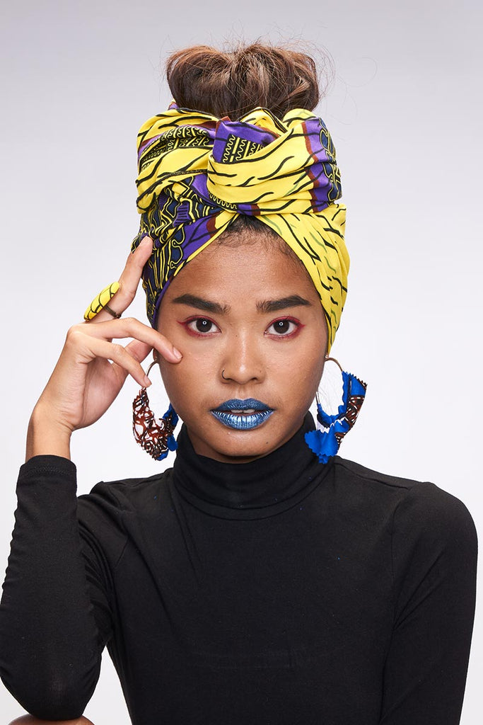 Beza Yellow-Purple Headwrap