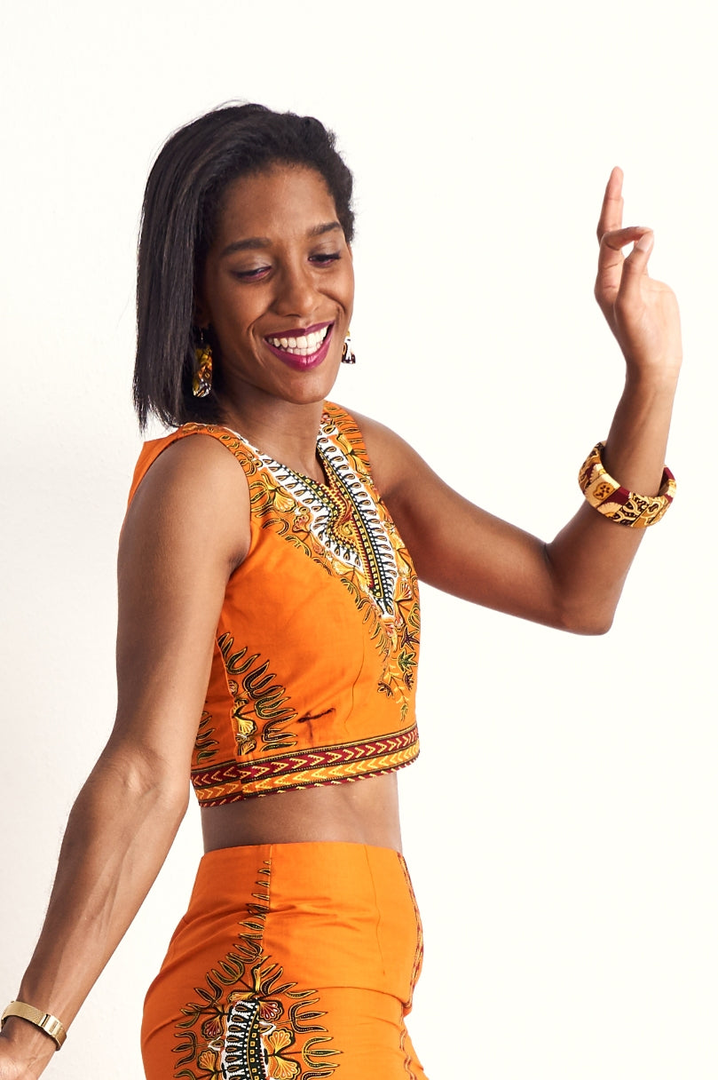 Hassana Dashiki Orange Crop Top